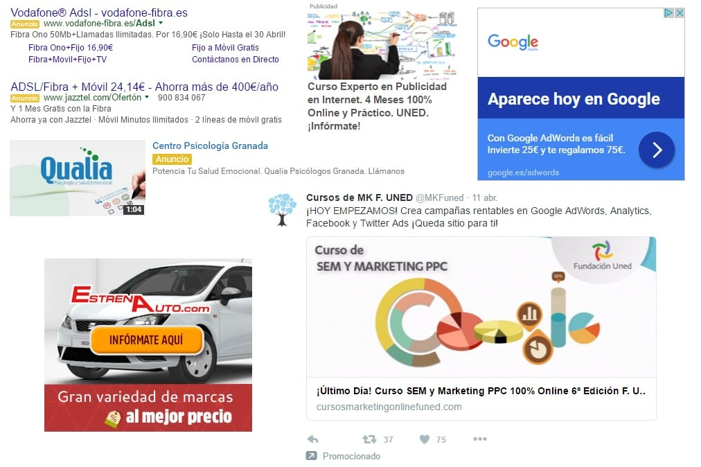 distintos tipos de anuncios online
