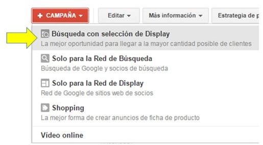 búsqueda con selección de display en adwords
