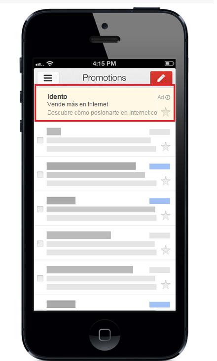 Gmail ads - anuncio collapsed en móvil