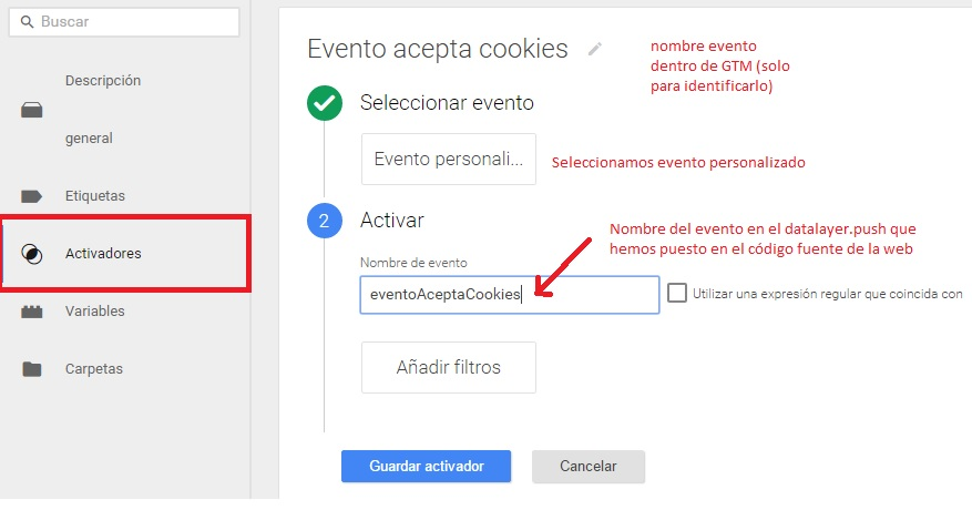 Google Analytics Tag Manager Evento