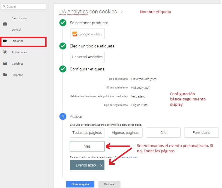 Google Analytics Tag Manager Etiqueta