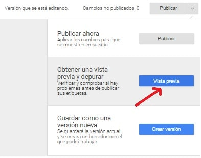 Google Analytics Tag Manager Vista Previa