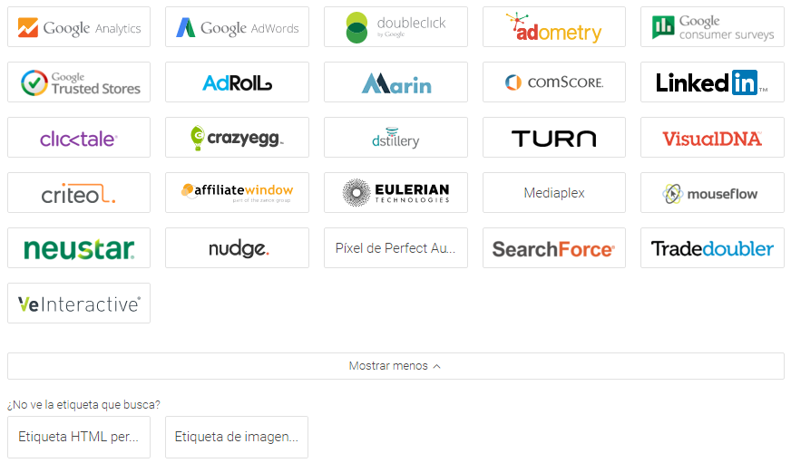 Etiquetas predeterminadas Google Tag Manager