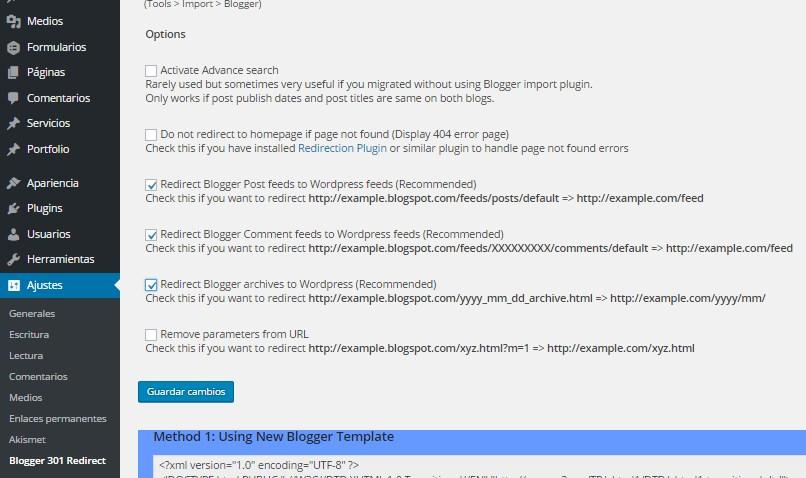 Configuración Blogger 301 Redirect