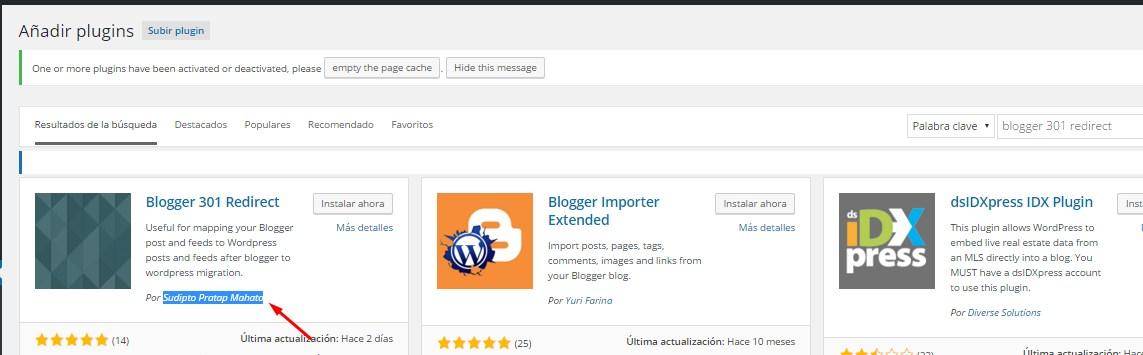 Instalar plugin Blogger 301 Redirect en WordPress