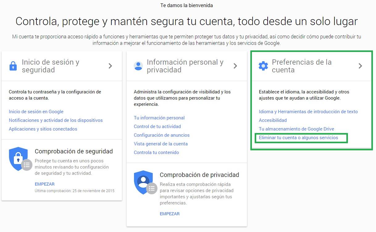 Cancelar y Eliminar Cuenta Google
