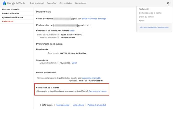 Cancelar y Eliminar Cuenta Google Adwords