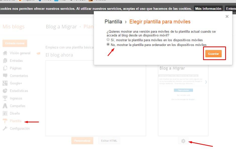 Eliminar plantilla para móviles en Blogger