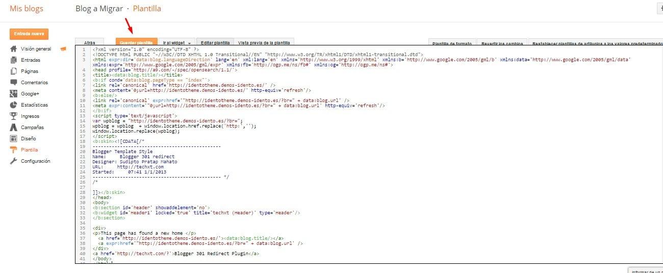 Insertar código Blogger 301 redirect