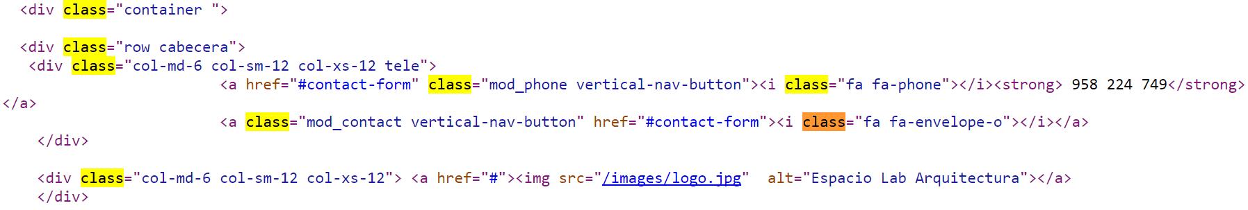 Ejemplo de class dentro del html