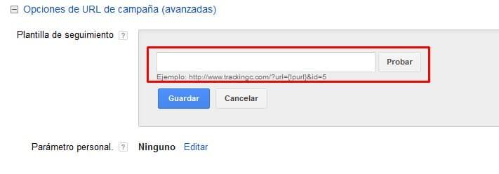 Clics no válidos - URL de seguimient