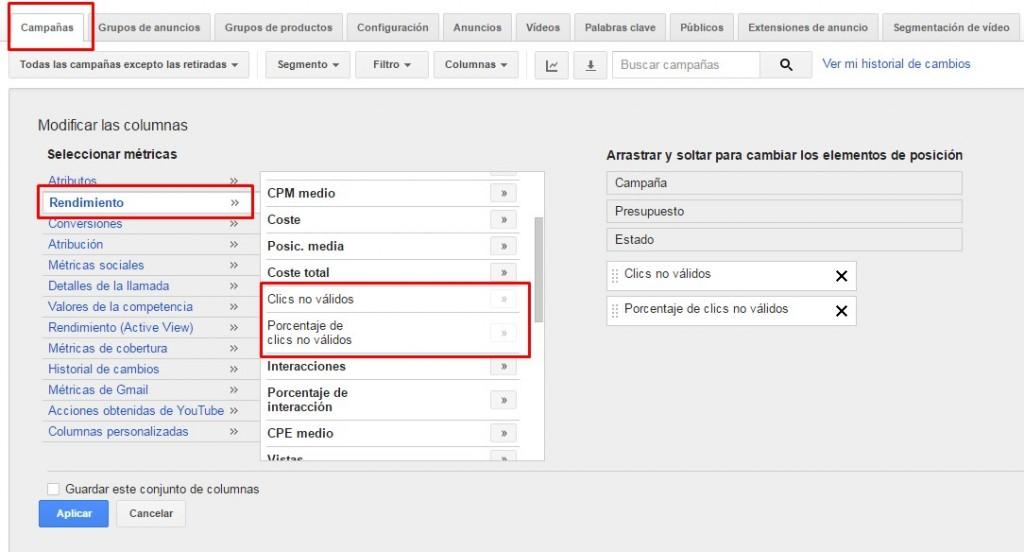 Clics no válidos adwords, porcentaje de clics no válidos que respecto del número total de clics