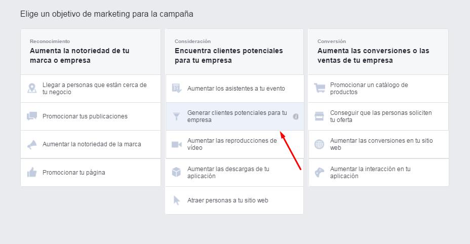Facebook Leads Ads - Objetivo Lead Generation