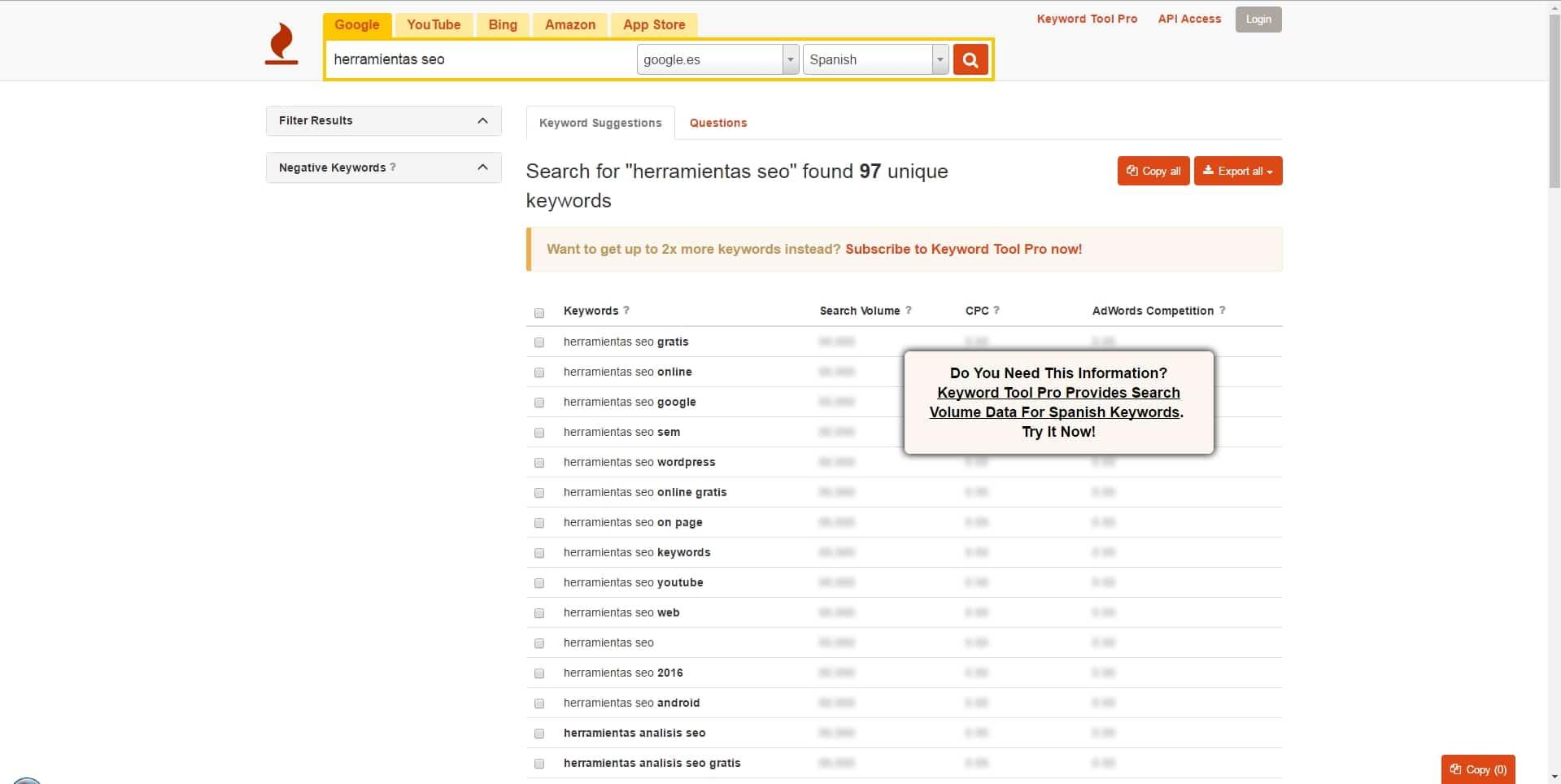 Herramientas SEO - Investigación de palabras clave   Keywordtool.io