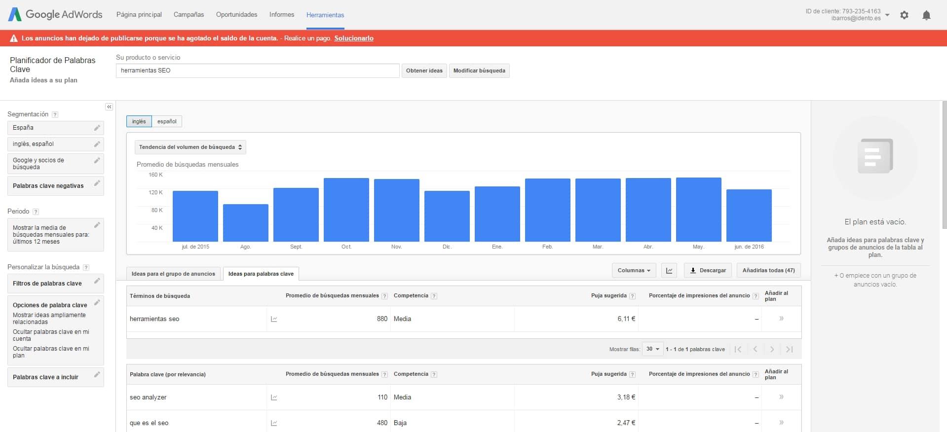 Herramientas SEO - Investigación de palabras clave   Planificador de palabras clave Google Adwords