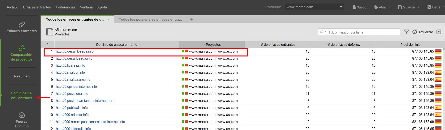 Comparar perfil de enlaces competidor en Bing