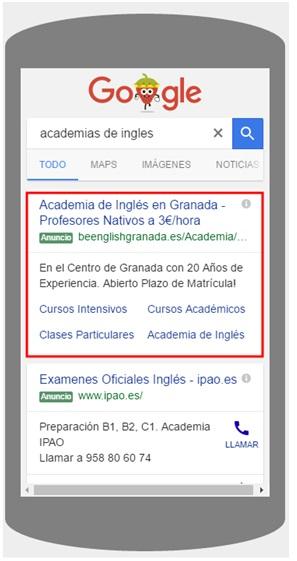 Expanded Text Ads - Ejemplo de anuncio expandido visualizado en las SERP móviles