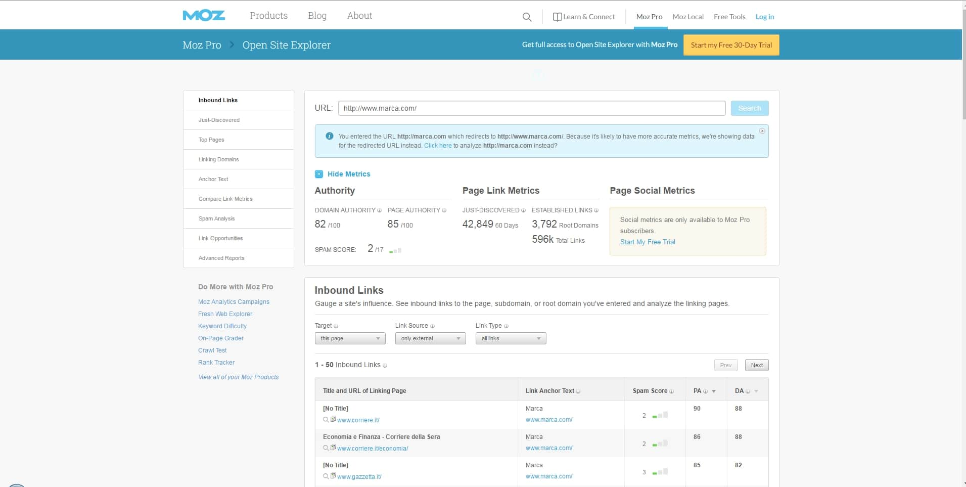Herramientas SEO - Análisis Competencia y Backlinks | Moz Open Site Explorer