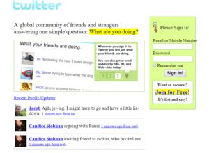 Ver páginas webs antiguas - Twitter año 2005
