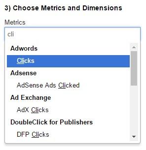 Escoger métricas y dimensiones del reporte