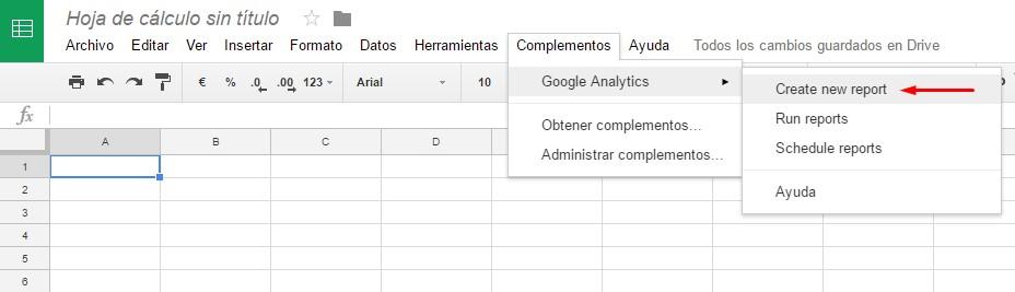 Crear informe desde Hojas de Cálculo