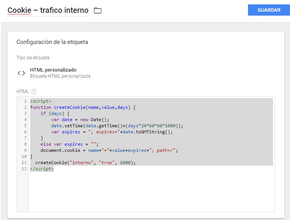 instalar cookie Google Tag Manager