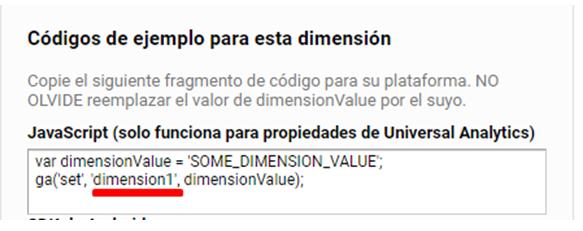 Dimensiones personalizadas Google Tag Manager códigos ejemplo